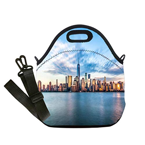 (Insulated Lunch Bag, Reusable Outdoor Travel Picnic School Downtown manhattan new york jersey city golden hour sunset Multicolor,for Adults and children waterproof Lunch Box)