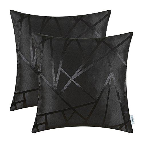 Pack of 2 CaliTime Cushion Covers Throw Pillow Cases Shells Both Sides, Modern Triangles Abstract Lines Geometric, 18 X 18 Inches, Black (Christmas Throw Pillows Sale)