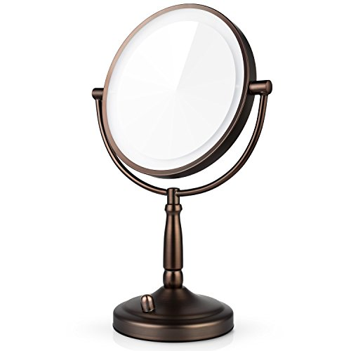 Miusco 7X Magnifying Lighted Makeup Mirror, 8 Inch Two Sided White Daylight LED Shadow Free LED Vanity Mirror, Battery and Adapter, Bronze Review