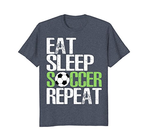 Mens Eat Sleep Soccer Repeat Shirt Cool Sport Player Gift TShirt Small Heather Blue - Male Soccer Player Charm