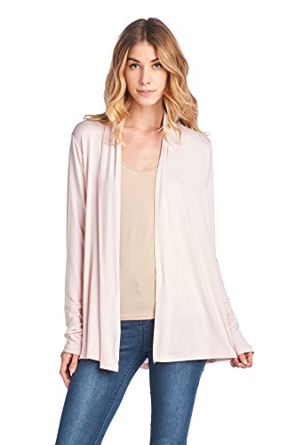 ReneeC. Women's Extra Soft Natural Bamboo Open Front Cardigan – Made in USA (2X-Large, Pink)