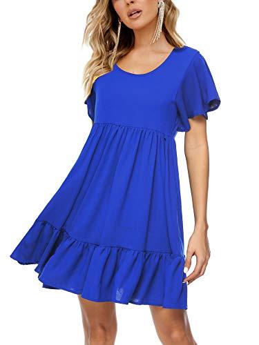 (Amoretu Womens Ruffle Sleeve Tunic Summer Dress Pleated Beach Shift Dresses(Blue,XL))