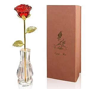 Emaker Gold Rose Love Forever Long Stem Gold Foil Trim Dipped 24K Rose Best for Her Best for Mom, Wife, Girlfriend, Best for Your Loved Ones 11