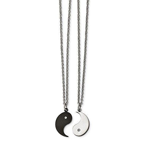 (Chisel Black Plated Stainless Steel Yin Yang Necklace Set w CZ, 20 Inch)