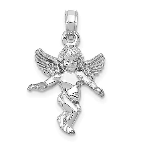(14k White Gold Guardian Angel Pendant Charm Necklace Religious Fine Jewelry Gifts For Women For)