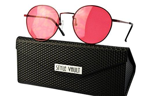 V3022-fc Style Vault Metal Retro Round Panto Sunglasses (B3395F Candy Red w - John Sunglasses Candy