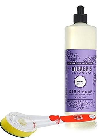 Mrs Meyer's Dish Soap Lilac 16 fl oz with a Brillo Scrub Brush (Meyers Hand Soap Radish)