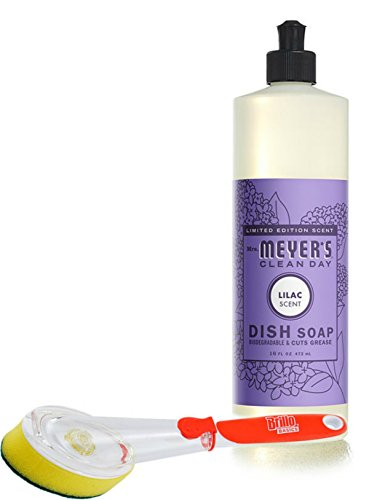 Mrs Meyer's Dish Soap Lilac 16 fl oz with a Brillo Scrub Brush