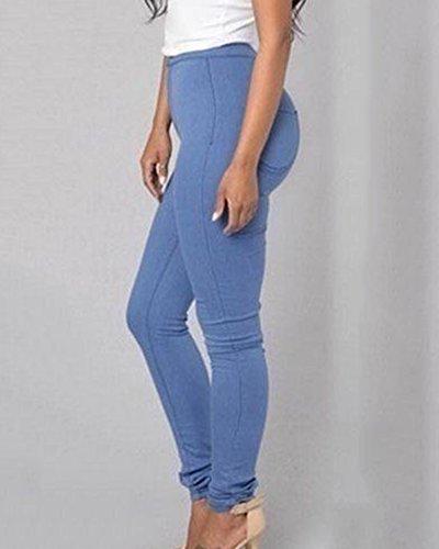 Elastico Blu Alta Casuale Leggings Donne Pantaloni Vita Skinny Denim Jeans Efaqv