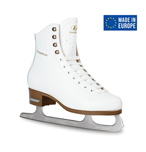 Leather Figure Skates (BOTAS - model: DAGMAR / Made in Europe (Czech Republic) / Comfortable Figure Ice Skates for Women, Girls / Real Leather Upper / Higher and Wider cut / SABRINA blades / Color: White, Size: Adult 8.5)
