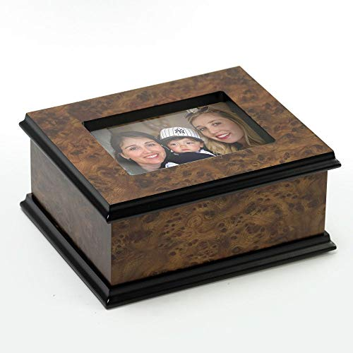 Traditional Sorrento 18 Note Classic Style 3X5 Photo Frame Music Jewelry Box - Over 400 Song Choices - Home on The Range (Elm Stove Wood)