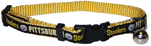 NFL CAT COLLAR. - PITTSBURGH STEELERS CAT COLLAR. - Strong & Adjustable FOOTBALL Cat Collars with Metal Jingle Bell (Metal Steelers Pittsburgh Silver)