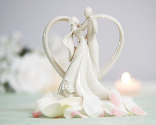 Romantic Dancing Couple With Heart Arch Porcelain Cake Topper (Wedding Cake Topper Arch)