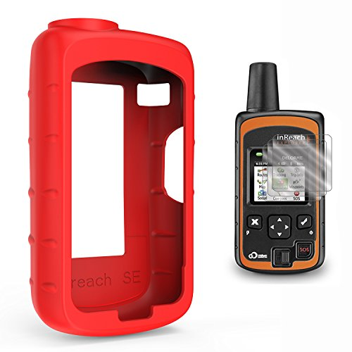 TUSITA Case with Screen Protector for DeLorme inReach SE/Explorer Satellite Tracker,Replacement Silicone Protective Skin Cover (Red)