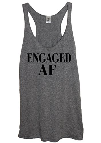 Its Your Day Clothing Engaged AF Soft Tri-Blend Womens Heather Gray Racerback Tank Top