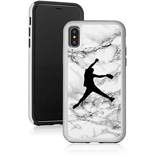 Marble Shockproof Impact Hard Soft Case Cover for Apple iPhone Female Softball Pitcher (Black, for Apple iPhone 7 Plus/iPhone 8 Plus)