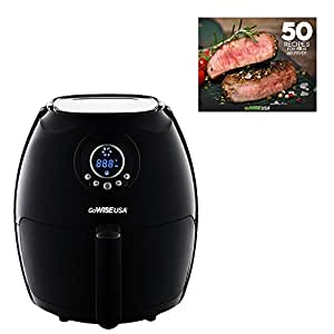 GoWISE USA 2.75-Quart Digital Air Fryer + 50 Recipes for your Air Fryer Book (Black)