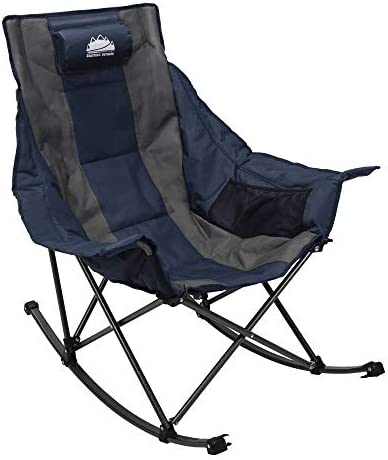 Coastrail Outdoor Camping Rocking Oversized Padded Portable Folding Rocker Chair