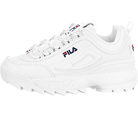 Fila Womens Disruptor II Premium Sneaker, Adult, White/Navy/Red, 10 M US (Footwear Youth Pink Leather)