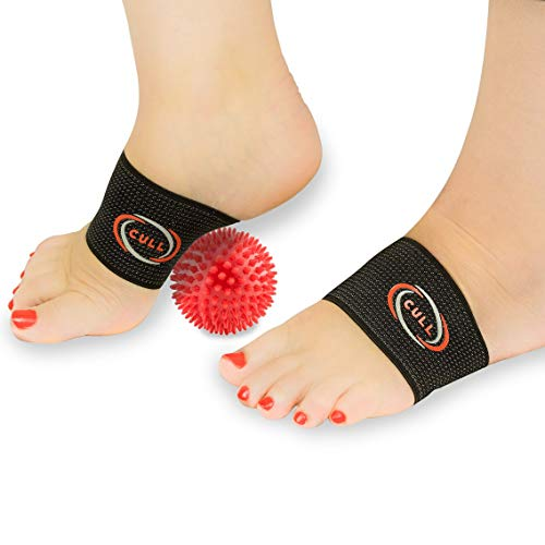CULL Copper Compression Arch Brace Set: Plantar Fasciitis Support Arch Pain Bands Foot Massager Roller Ball:Men/Women Shoe Inserts Flat Feet High/Fallen Arches Supports Mens/Womens Stress Relief -