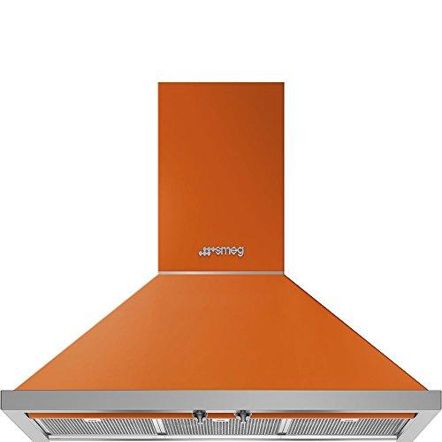 "Smeg Portofino KPF36UOR 36"" Chimney Hood, Orange"