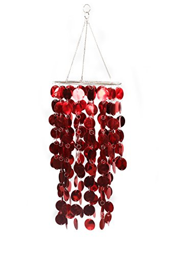 Capiz Seashells Pendant Lampshade with Metal Spangles Red Chandelier Shell 2 - Seashells About Information