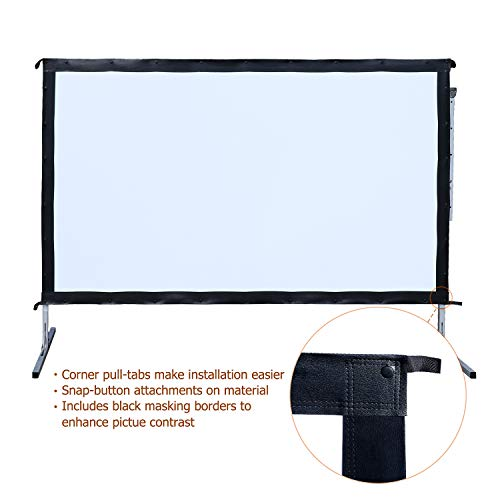 Outdoor Indoor Projector Screen with Stand, 144 inch HD Foldable Portable Projector Screen, 8K 4K 3D 16:9 Projection Movie Screen for Home Theater Camping Recreational Events, Waterproof, Anti-Crease by Stamo (Image #4)