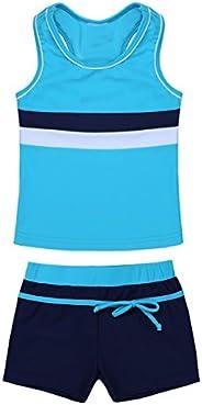 Hansber Big Girls Athletic 2 Pcs Swimsuit Racer Tank Top with Boyshorts Beach Sports Bathing Suit Tankini