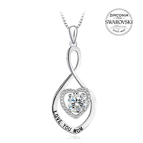 T400 925 Sterling Silver Love You Mom Cubic Zirconia from Swarovski Pendant Necklace ♥ Birthday Gift for Mother Women -