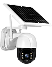 Solar Security Camera,Wireless Solar Panel Security Camera, 3MP Outdoor Surveillance Rechargeable Battery Camera, Night Vision, PIR Motion Detection, IP66 Waterproof, 2-Way Audio