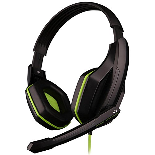 Granvela X1 Gaming Headset Wired Stereo Over-Ear Headphones with Microphone and Volume Control PU Ear-pad for PC, Notebook, Mac (Green) ()