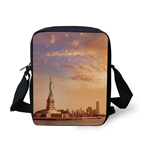 Sculptures Decor,Statue of Liberty American Freedom Symbol on NYC Sunset along with River Skyscraper,Yellow White Print Kids Crossbody Messenger Bag Purse