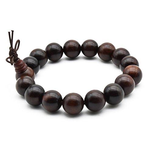 (Zen Dear Unisex Natural Rosewood Prayer Beads Buddha Buddhist Prayer Meditation Mala Necklace Bracelet (12mm 17 Beads))
