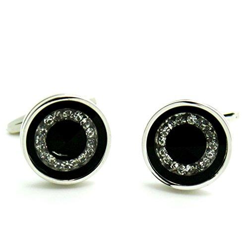 Round Crystal Cufflinks (Casoty Jewelry Fashion Crystal Cufflinks Mens French Round Design Button in Gift Box)