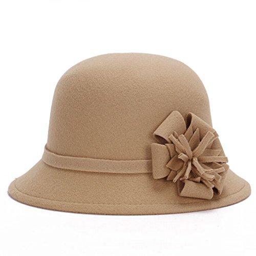 Winter Women's Retro hat with flower Artificial Wool Felt Cloche Bucket Hat (camel, Head Circumference: 57-58cm)