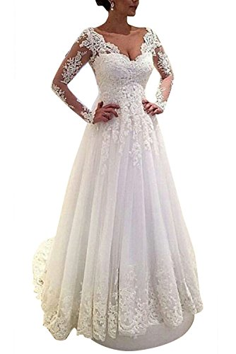 MARSEN Sweetheart Backless Wedding Dress Long Beaded Lace Appliques Bridal Gown White A Line Customize by MARSEN