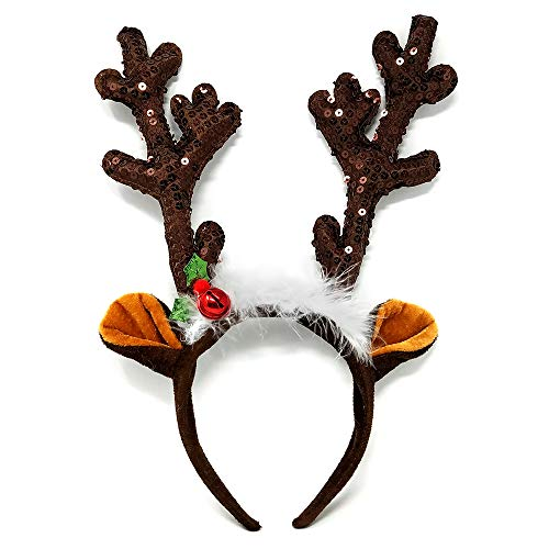 NorNovelties Christmas Reindeer Antlers Headband - For Holiday Party Or Rudolph & Santa Costume -