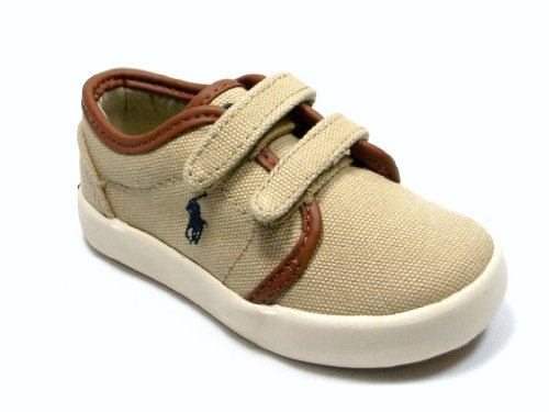 New Ralph Lauren Khaki (New Ralph Lauren Polo Toddler Kids Ethan Low EZ Khaki Canvas Shoes feat Velcro Strap Closure)