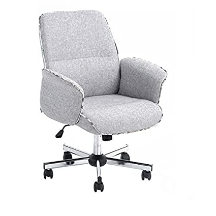 2754e973d19b Amazon.com: Homy Casa Home Office Chair Upholstered Desk Chair Fabric Executive  Chair (Grey,Mid-Backrest): Kitchen & Dining