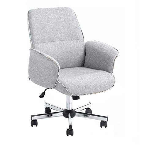 (Homy Casa Home Office Chair Upholstered Desk Chair Fabric Executive Chair (Grey,Mid-Backrest))