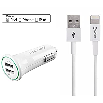 Clover Surge iPhone Charger, Dual USB Portable Travel Wall Charger with Foldable Plug, Apple Lightning Cable Charging Cables for iPhone 7/7Plus/6S/6S Plus/6/5S/SE/5C,iPad Air/Mini/Pro