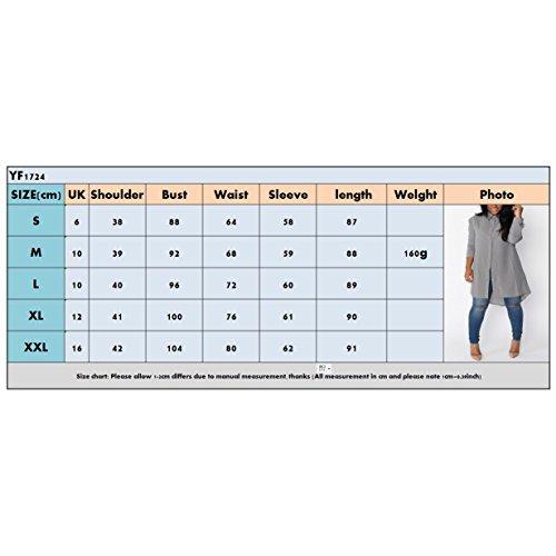 6c958f0037a Hibote Chemise Longue pour Femme Mode Casual Loose Mousseline de Soie  Tunique à Manches Longue Mini Robe Couleur Unie Loisir Blouse Shirt Chemise  avec ...