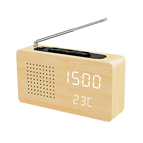 (Digital Alarm Clock, Adjustable Brightnes Voice Control Desk Wooden Radio Alarm Clock Sound Control Large Display Clock with Time/Date/Week/Temperature USB/Battery Powered for Home, Office, Kids)