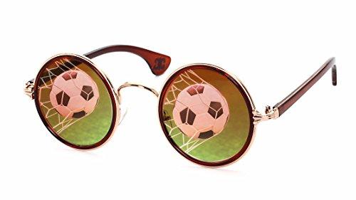 Valentoria Prime Sale Day Deals Week 2018-Retro Classic Oversize Circle Lens Round Sunglasses Classic Joplin Style Hippie Sunglasses (Gold Brown)