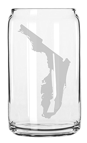State of Florida with Shotgun Cutout Etched Can Glass 16oz
