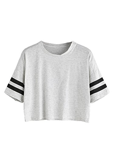 MAKEMECHIC Women's Short Sleeve Oversized Striped Summer Crop Tee T-Shirt Top Grey S]()
