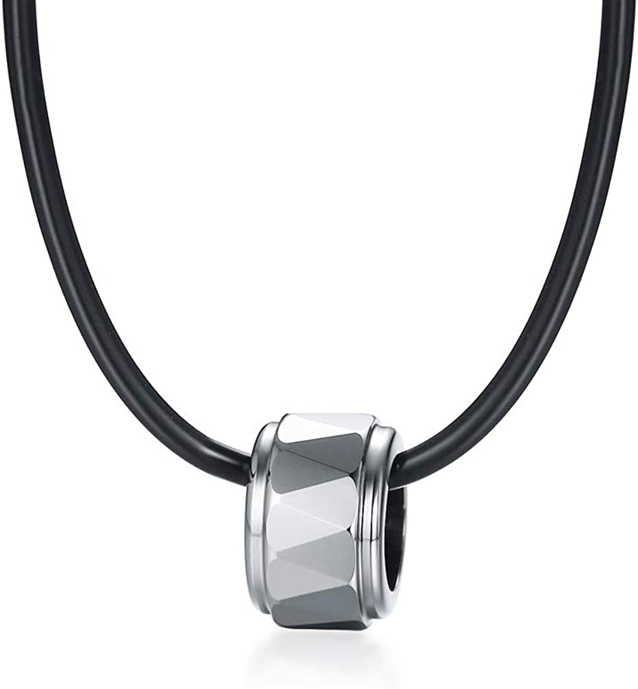 MINO Fashion Tungsten Steel Cylindrical Section Males Necklaces Silver Plating