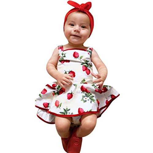FEITONG Cute Baby Girls Infant Kids Sleeveless Strawberry Print Romper Clothes Princess Dress -