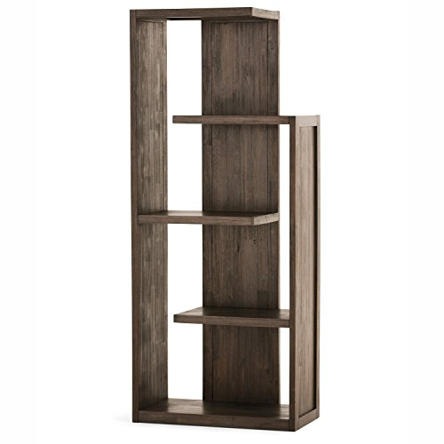 Simpli Home Monroe Bookcase, Distressed Charcoal Brown