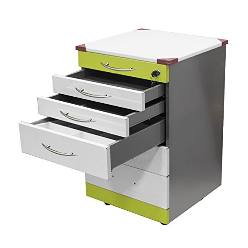 - Stainless Steel Dental Cabinet Mobile Medical Cart with 5 Drawers Lab Storage Supply